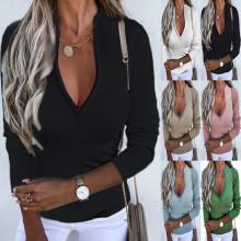 (ebay price:$19.68)S-5XL Fashion Women Zipper Long Sleeve Solid Color T-shirt Tops