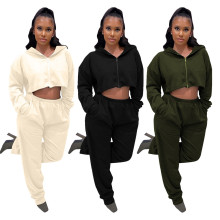(ebay price:$36.49)Women Hooded Long Sleeve Zipper Coat Pockets Long Pants Set