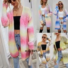 (ebay price:$36.26)Fashion Women Long Sleeve Tie-dyed Print Pockets Cardigan Knit Outwear