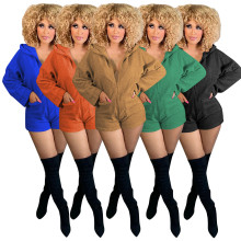 (ebay price:$25.31)Women Hooded Long Sleeve Zipper Pockets Solid Casual Short Jumpsuit