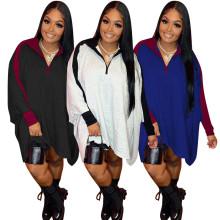 (ebay price:$28.88)Fashion Women Zipper Batwing Sleeve Color Block Loose Dress