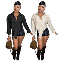 (ebay price:$20.04)Women Turn-down Neck Long Sleeve Single-breasted Solid Color Shirt Tops
