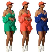 (ebay price:$31.71)Women Long Sleeve Buttons Shirt+Vest+Short Pants Solid Outfits 3pcs
