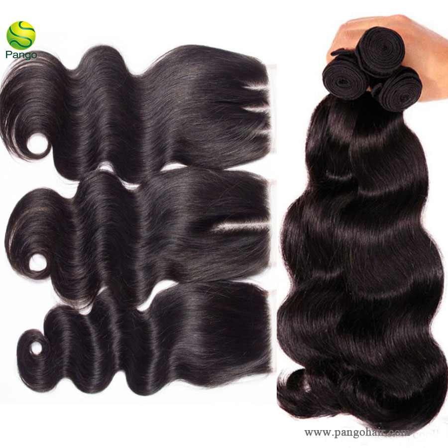 10a human hair body wave 3 bundles with closure 100% unprocessed virgin  remy hair weave human hair extensions natural black color pango