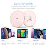 Fast Wireless Charger, Vebach Dubhe1s Qi Certified Wireless Charging Pad 7.5W Compatible iPhone, 10W Compatible Samsung-RoseGold