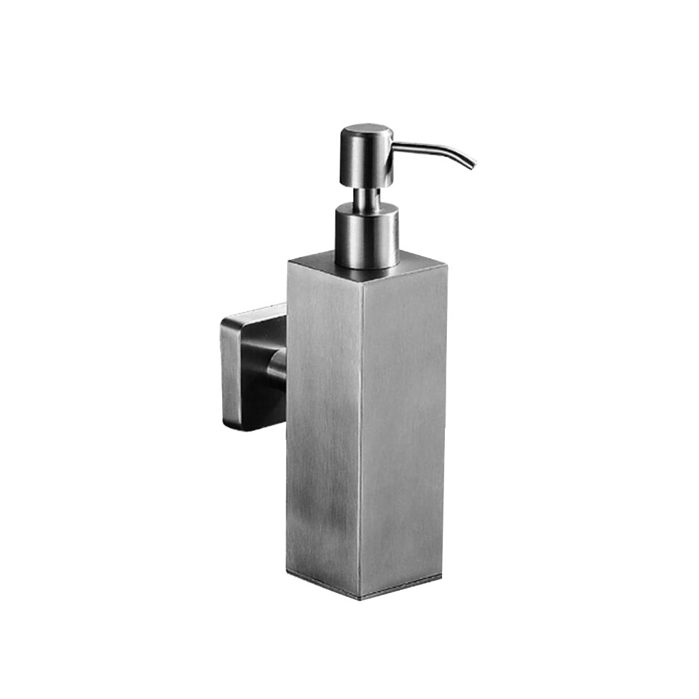 Stainless Steel Square Liquid Soap Bottle Brushed Nickel Wall Mounted Hand Dispenser Bathroom Accessories Item No 883759