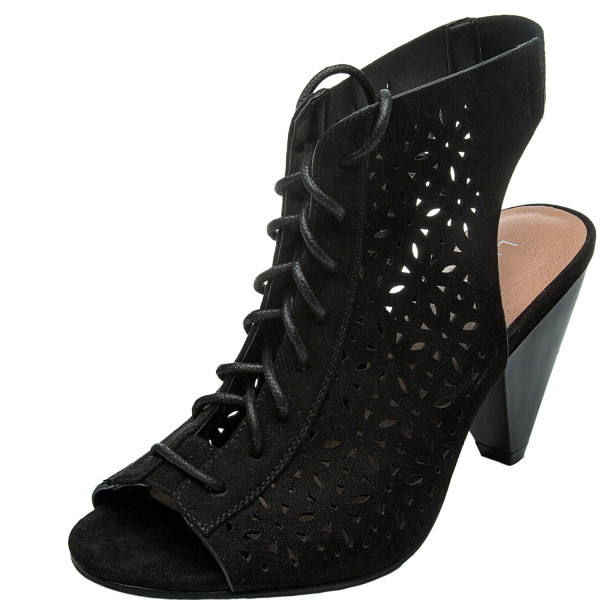 Women's Wide Width Cone Heeled Sandal - Open Toe Lace up Suede Embroidery Flower Summer Boots.