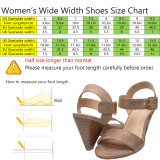 Luoika Women's Wide Width Cone Heeled Sandal - Open Toe Ankle Strap Adjustable Metal Buckle Low Heel Summer Shoes