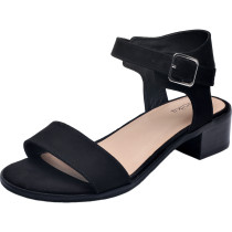 Luoika Women's Wide Width Heeled Sandals - Classic Low Block Heel Open Toe Ankle Strap Suede Summer Shoes.