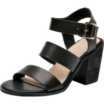 Luoika Women's Wide Width Heeled Sandals - Ankle Buckle Strap Mid Chunky Heel Open Toe Dress Heel Pump.