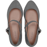 Women's Wide Width Flat Shoes - Comfortable Classic Pointy Toe Mary Jane Ballet Flat