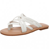 Women's Wide Width Slide Sandals - Slip On Flat Cross Strap Casual Summer Shoes.