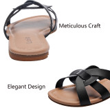 Women's Wide Width Slide Sandals - Slip On Flat Open Toe Double Bands Casual Summer Shoes.