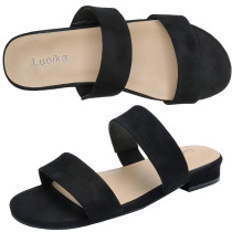 Women's Wide Width Slide Sandals - Slip On Low Heel Double Bands Casual Summer Shoes.