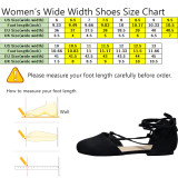 Women's Wide Width Flat Sandals - Lace up Strappy Closed Toe Cozy Summer Shoes.