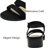 Women's Wide Width Heeled Sandals - Low Block Heel Open Toe Double Strap Summer Shoes.