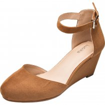 addb7e8f559 Luoika Women s Wide Width Mini Wedges - Comfortable Mid Low Heel Ankle  Buckle Strap