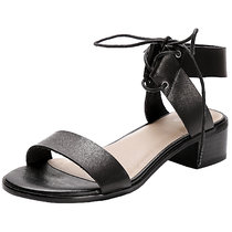 Women's Wide Width Heeled Sandals - Lace up Open Toe Ankle Strap Flexible Low Heel Shoes.