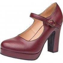 9e809cfa5e1 Luoika Women Wide Width Heel Pump - Mary Jean Ankle Strap