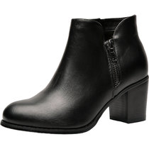 Luoika Plus Size Wide Width Ankle Boots for Women Mid Chunky Block Stacked Heels Round Toe Slip on Side Zip