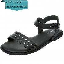 188c44c0884e US  29.99. Women s Wide Width Flat Sandals - Open Toe One Band Ankle Strap  Flexible Buckle Gladiator Casual