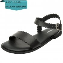 Women's Wide Summer Flat Sandals - Open Toe One Band Ankle Strap Flexible Shoes