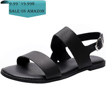 Women's Wide Width Flat Sandals - Comfortable Open Toe Ankle Strap Flexible Casual Summer Shoes