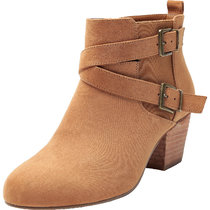 Women's Wide Width Ankle Booties - Side Zipper Double Cross Buckle Strap Mid Low Wooden Block Heel Boots.