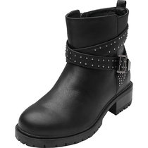 Women's Wide Width Mid Calf Boots - Rivet Stud Buckle Strap Mid Low Heel Side Zipper Winter Combat Boots.