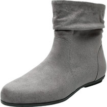 Women's Wide Width Ankle Boots, Flat Boots Side Zipper Cozy Comfortable Winter Booties.
