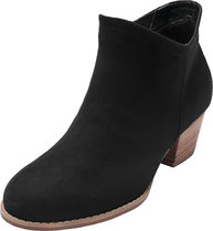 Luoika Women's Wide Width Ankle Booties - Side Zipper Mid Low Block Heel Faux Suede Short Boots.