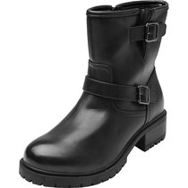 Luoika Women's Wide Width Mid Calf Boots - Side Zipper Strappy Buckle Mid Low Heel Warm Combat Boots.