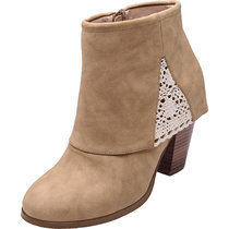 Luoika Women's Wide Width Ankle Booties - Side Zipper Chunky Block Heel Lace Flower Stitching Comfortable Short Boots.