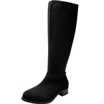 Women's Wide Width Knee-High Boots, Chunky Block Low Heel Boots Inside Zipper Wide Calf Winter Boots.
