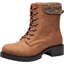 Women's Wide Width Combat Boots - Low Stacked Heel Round Toe Sweater Cuff Lase up Warm Martin Boots.