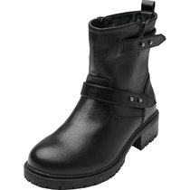 Women's Wide Width Combat Boots - Chunky Block Low Heel Back Pull-tabBuckle Slip On Side Zipper Cozy Comfortable Work Shoes.