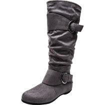 Women's Wide Width Mid Calf Boots - Buckle Detail Elastic Zipper Slip on Winter Boots.(Wide Calf)