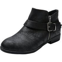Women's Wide Width Ankle Booties - Low Stacked Heel Side Zipper Buckle Strap Soft Comfortable Winter Boots.