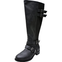 Women's Wide Width Knee High Boots - Chunky Low Heel Buckle Detial Elastic Zipper Winter Boots.(Extra Wide Calf)