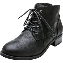 Women's Wide Width Ankle Boots, Chunky Block Low Heel Lace Up Side Zipper Comfortable Work Shoes.