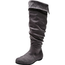 Women's Wide Width Knee High Slouch Boots - Stretchy Side Zipper Cushioned Lining Winter Flat Boots.(Extra Wide Calf)