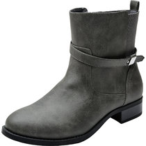 Women's Wide Width Ankle Booties - Low Heel Buckle Strap Side Zipper Elastic Band Comfortable Winter Boots.