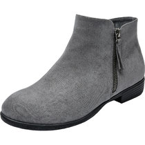 Luoika Women's Wide Width Ankle Booties - Classic Side Zipper Low Stacked Heel Round Toe Suede Comfy Boots.