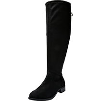 Women's Wide Width Over The Knee Boots - Stretchy Low Stacked Heel Vegan Suede Pull on Back Tie Boots.(Wide Calf)