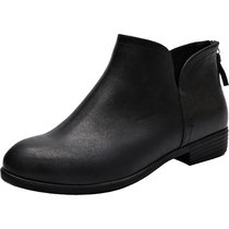 Women's Wide Width Ankle Booties - Cut Out Stacked Low Heel Back Zipper Comfortable Casual Boots.