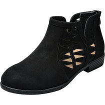 Aukusor Women's Wide Width Ankle Booties - Low Heel Slip On Back Zipper Cozy Spring Short Boots.