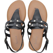 Women's Wide Width Flat Sandals - Flexible Buckle Thong Rivet Comfortable Summer Shoes.