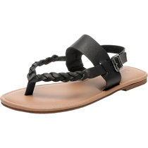 Women's Wide Width Flat Sandals - Braided Strap Flexible Buckle Thong Summer Shoes.