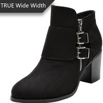 Women's Wide Width Ankle Boots - Low Chunky Heel Foldover Buckle Zipper Martin Boots,Warm Ankle Booties