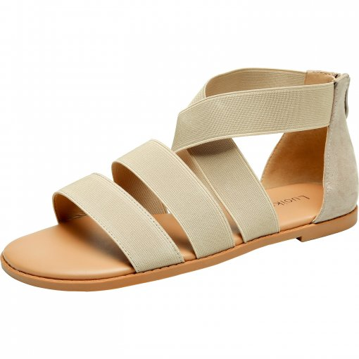 Women's Wide Width Flat Sandals - Gladiator Elastic Back Zipper Casual Summer Shoes.